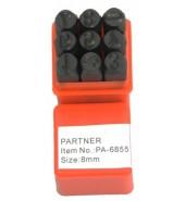 Набор клейм цифры 8мм (9шт) PARTNER (PA-6855-8)