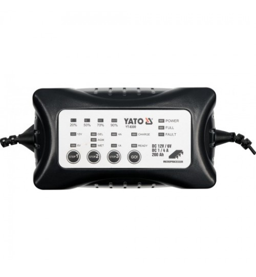 Электронное зарядное устройство (6/12V; 1/4A; мах 200Ah) YATO (YT-8300)