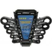 Набор ключей накидных с трещоткой22-19мм. (5пр.) GEKO (G10046)