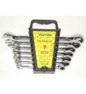 Набор ключей рожково-накидных с трещоткой 8-19мм. (7пр.) PARTNER (PA-3107M)